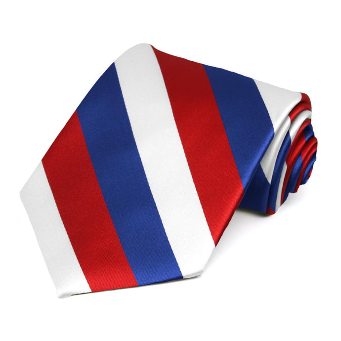 Red, White and Blue Extra Long Striped Tie