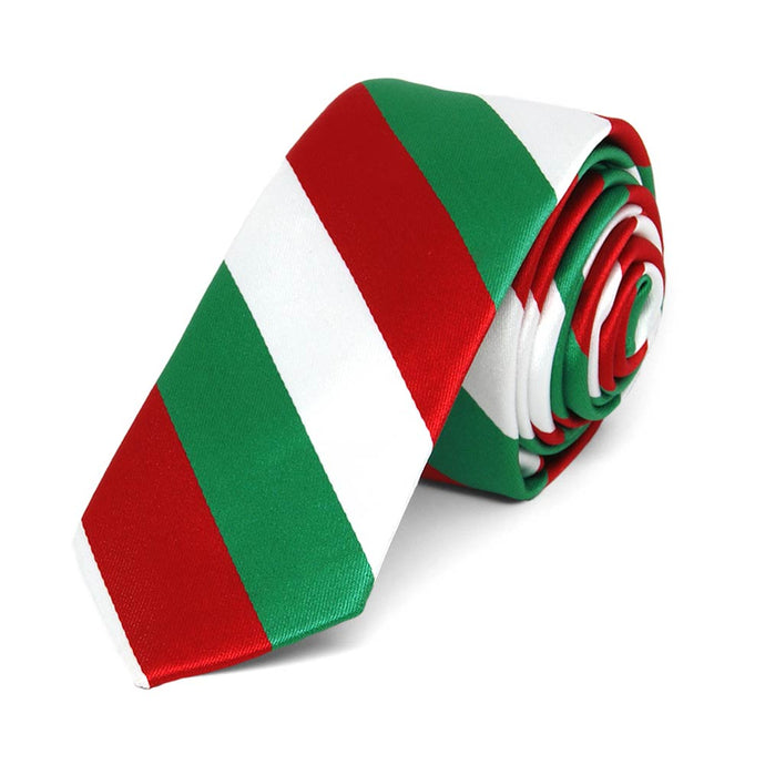 Kelly Green, Red and White Striped Skinny Tie, 2