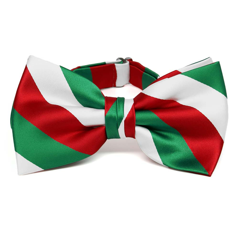 Kelly Green, White and Red Striped Bow Tie