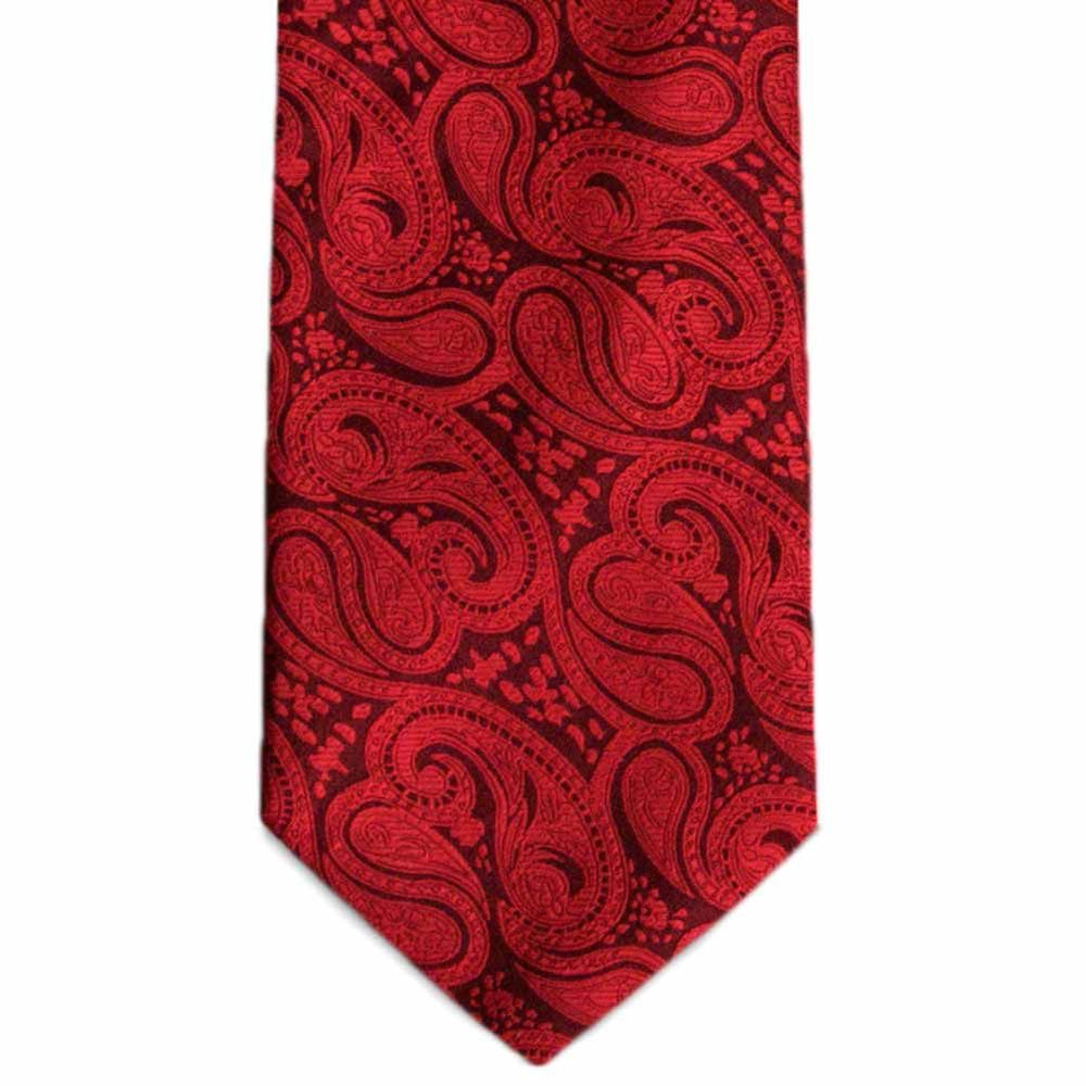 Red Bombay Paisley Extra Long Necktie