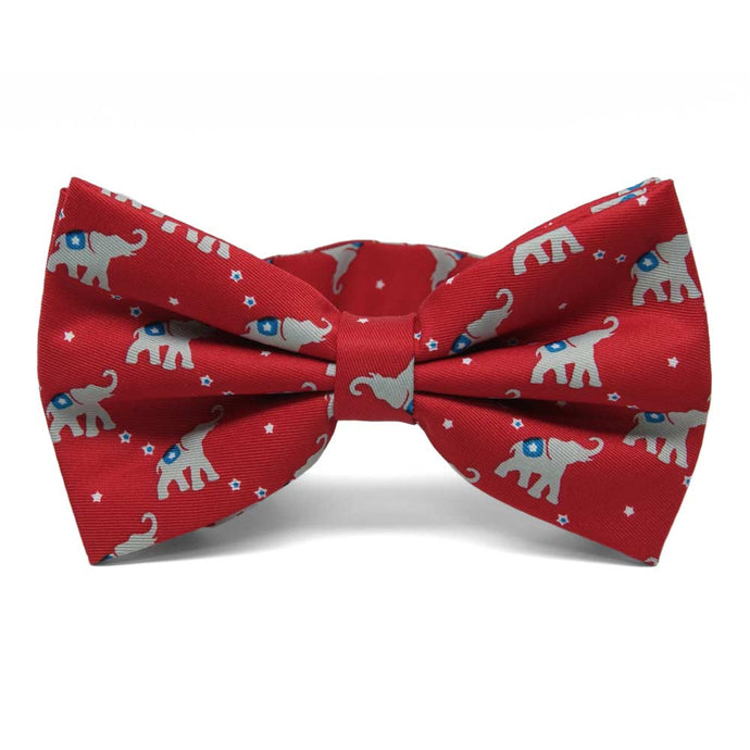 Republican Elephant pattern bow tie in red.
