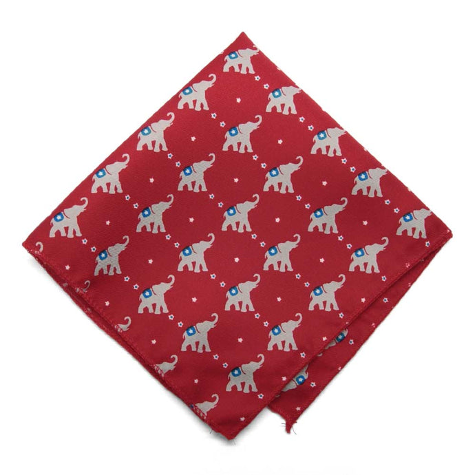 Republican Elephant pattern pocket square in red.