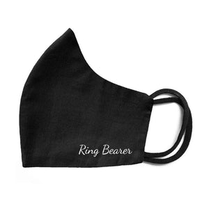 Black cloth face mask with ring bearer design