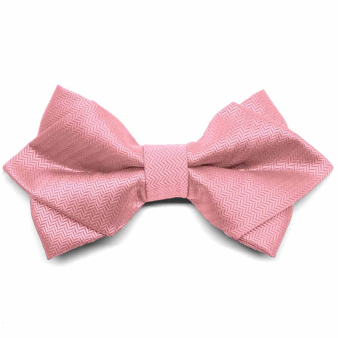 Rose Petal Pink Herringbone Diamond Tip Bow Tie