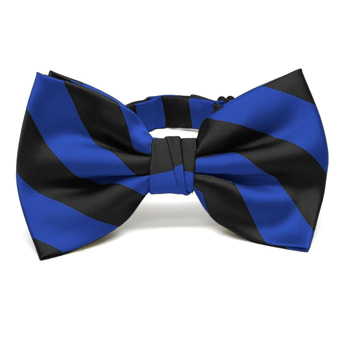 Royal Blue and Black Striped Bow Tie
