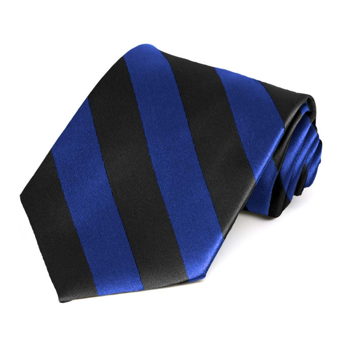 Royal Blue and Black Extra Long Striped Tie