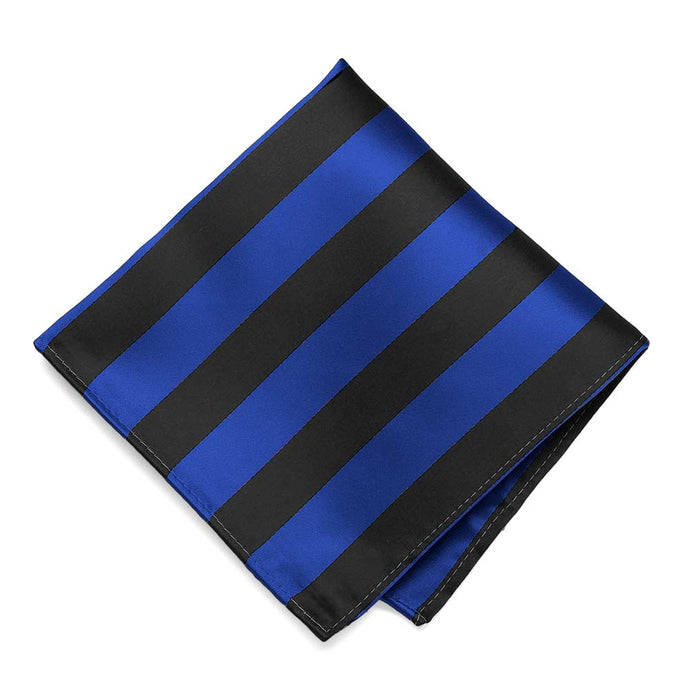 Royal Blue and Black Striped Pocket Square