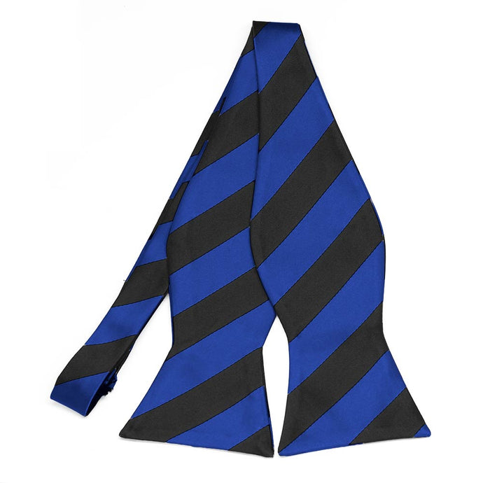 Royal Blue and Black Striped Self-Tie Bow Tie