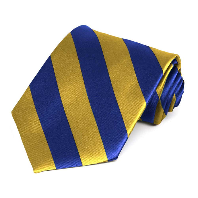 Royal Blue and Gold Extra Long Striped Tie