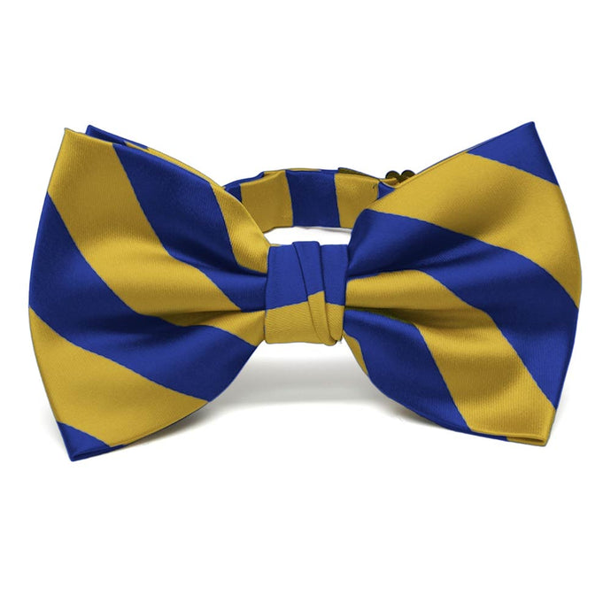 Royal Blue and Gold Striped Bow Tie