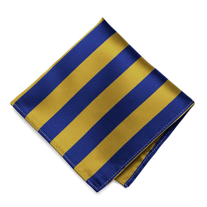 Royal Blue and Gold Striped Pocket Square