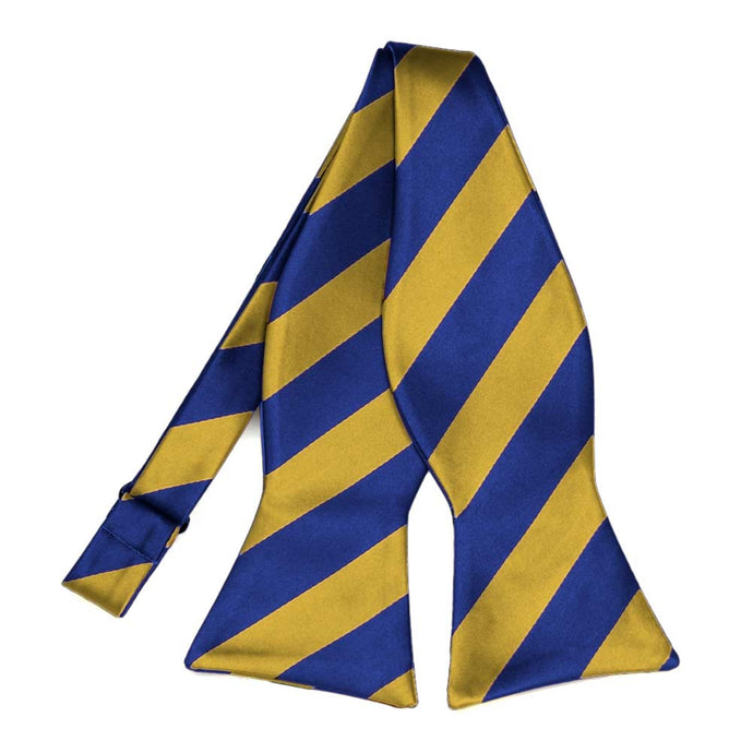 Royal Blue and Gold Striped Self-Tie Bow Tie