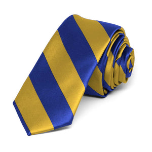 "Royal Blue and Gold Striped Skinny Tie, 2"" Width"