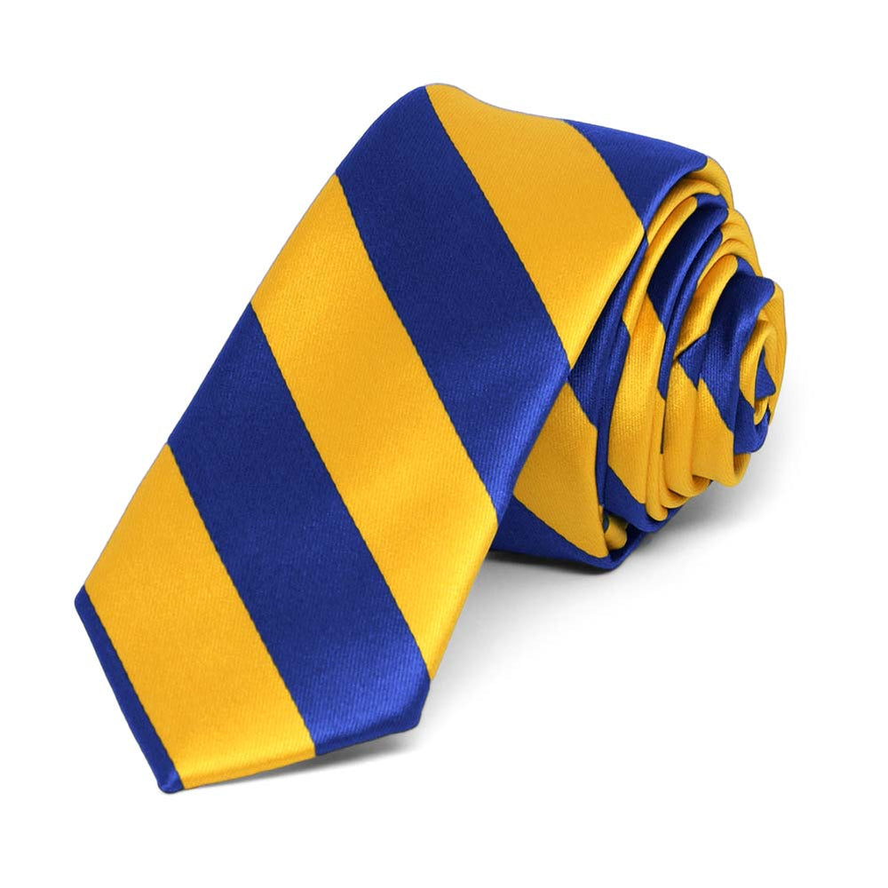Royal Blue and Golden Yellow Striped Skinny Tie, 2
