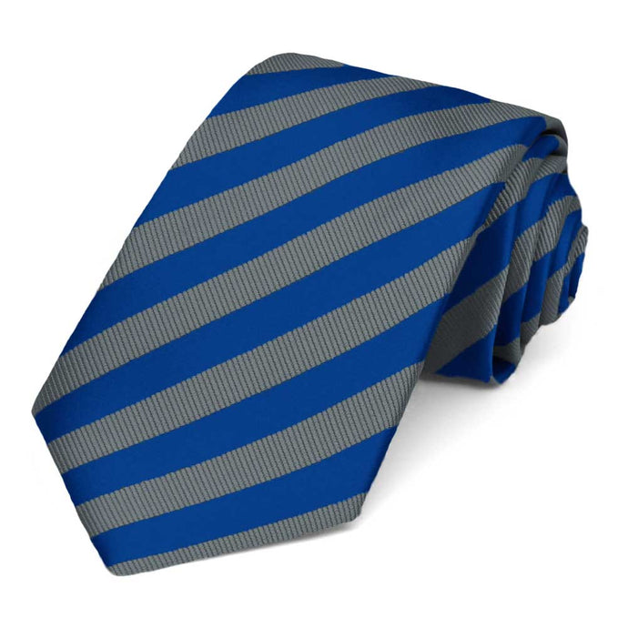 Blue and Gray Formal Striped Tie