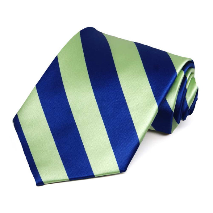 Royal Blue and Lime Green Striped Tie
