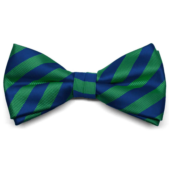 Kelly Green and Royal Blue Formal Striped Bow Tie
