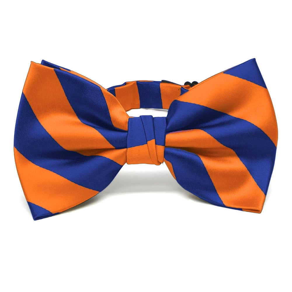 Royal Blue and Orange Striped Bow Tie