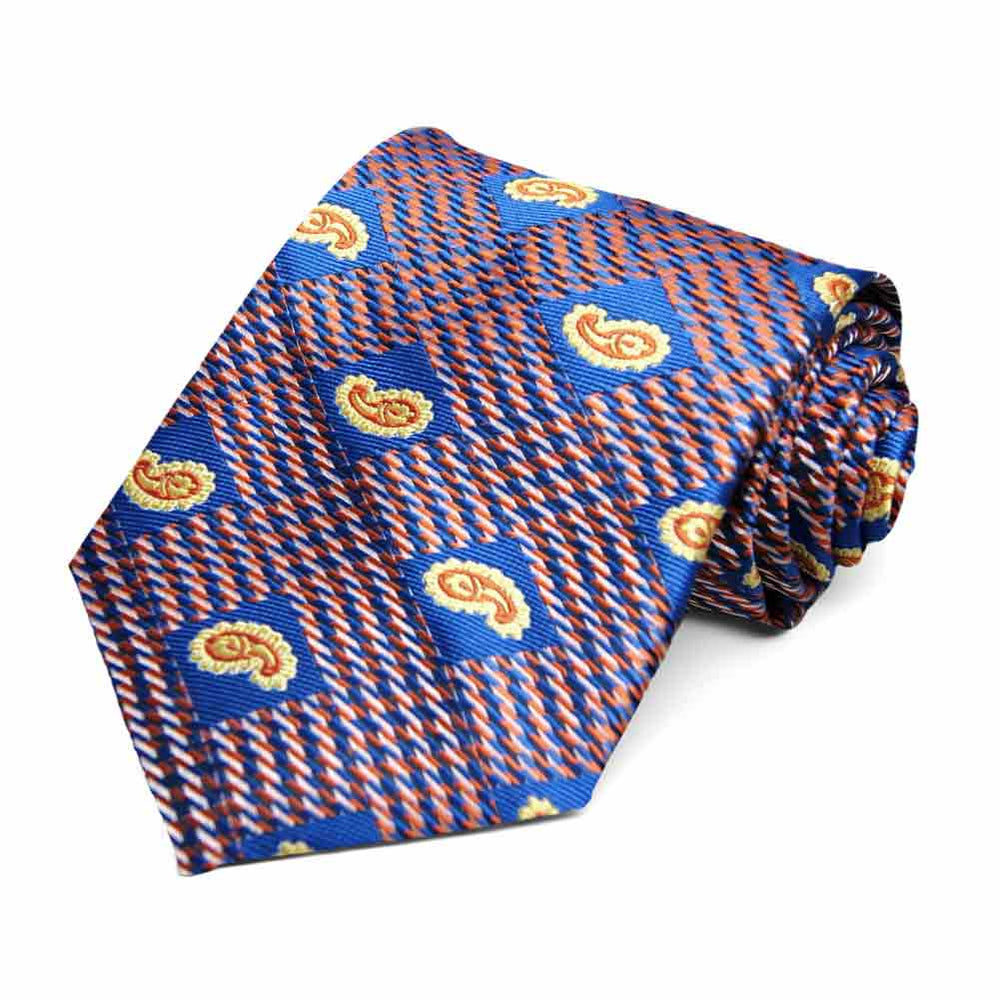Royal Blue and Orange Churchill Paisley Necktie