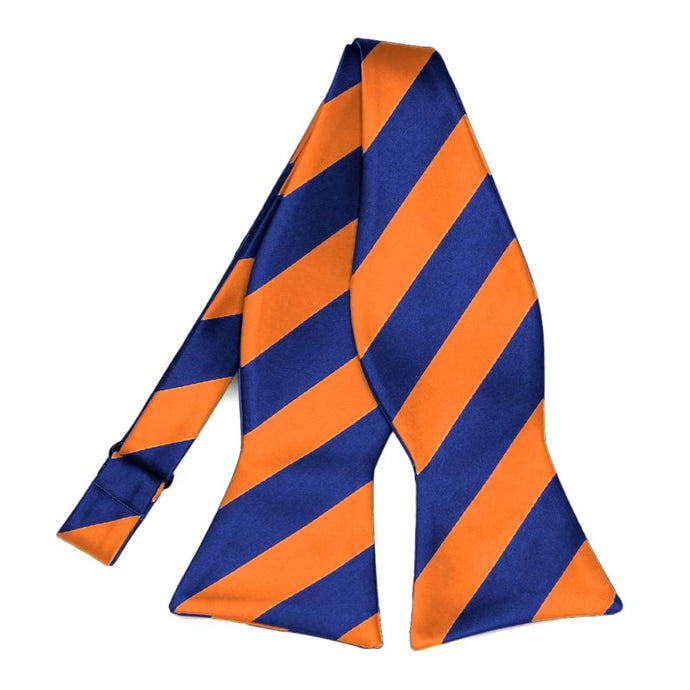 Royal Blue and Orange Striped Self-Tie Bow Tie