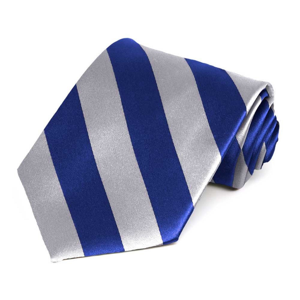 Royal Blue and Silver Extra Long Striped Tie