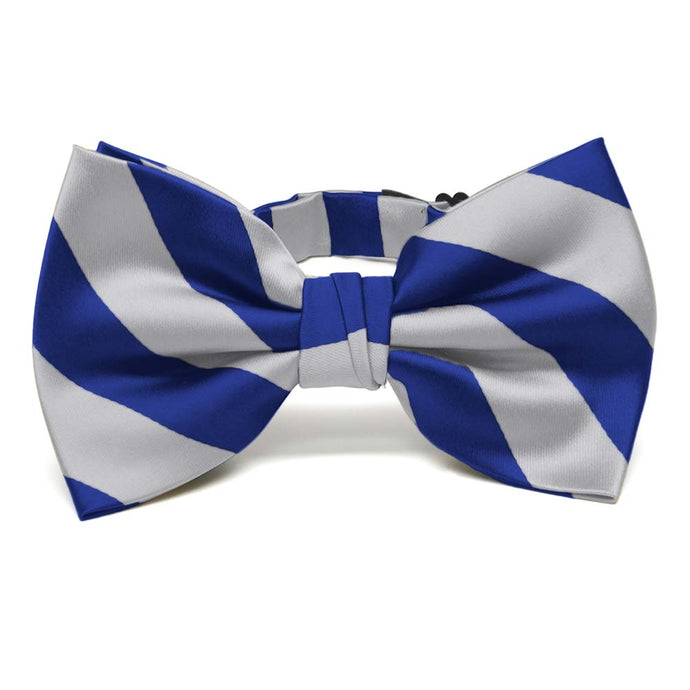 Royal Blue and Silver Striped Bow Tie