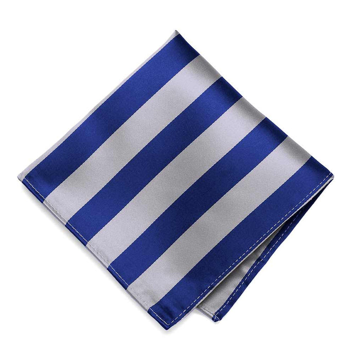 Royal Blue and Silver Striped Pocket Square