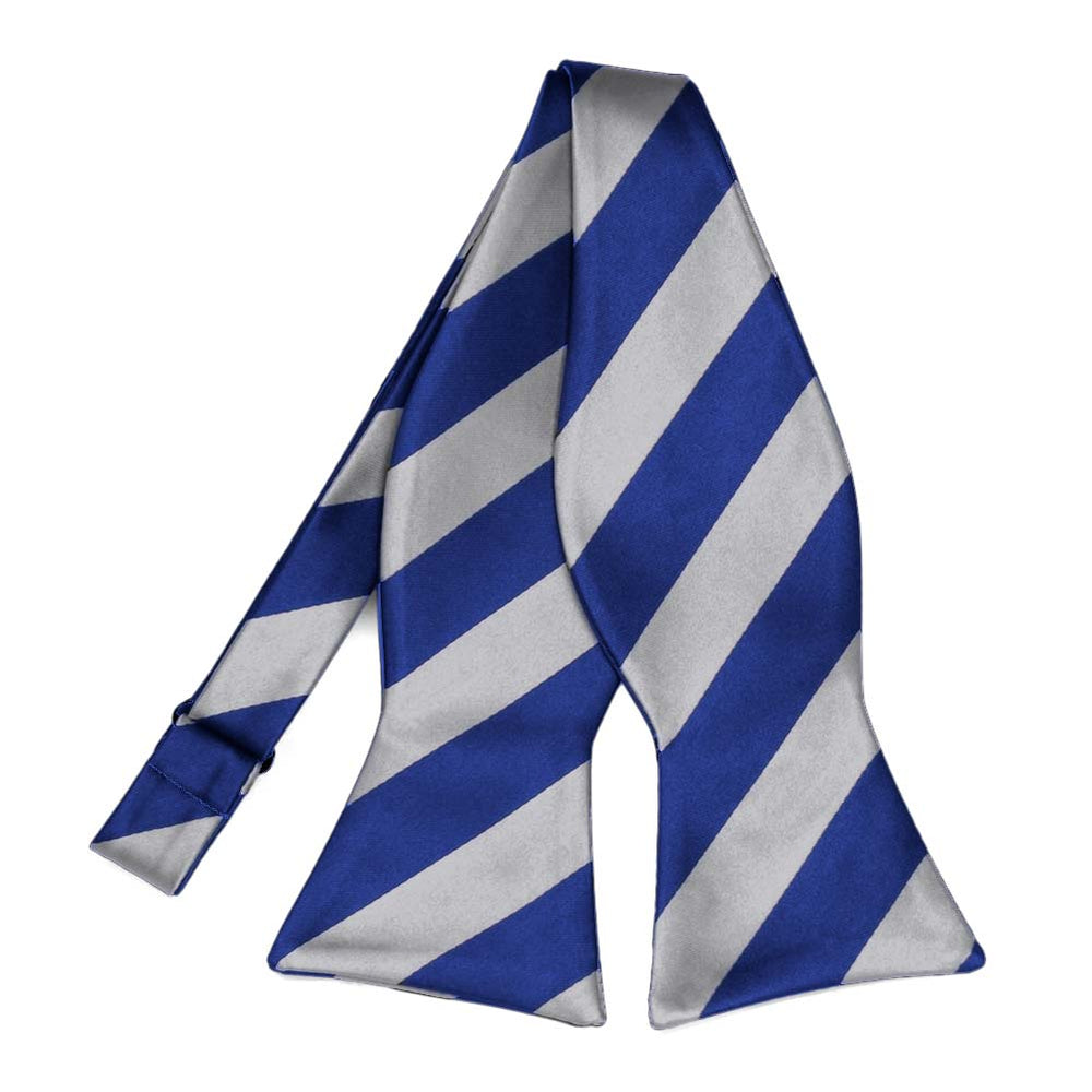 Royal Blue and Silver Striped Self-Tie Bow Tie