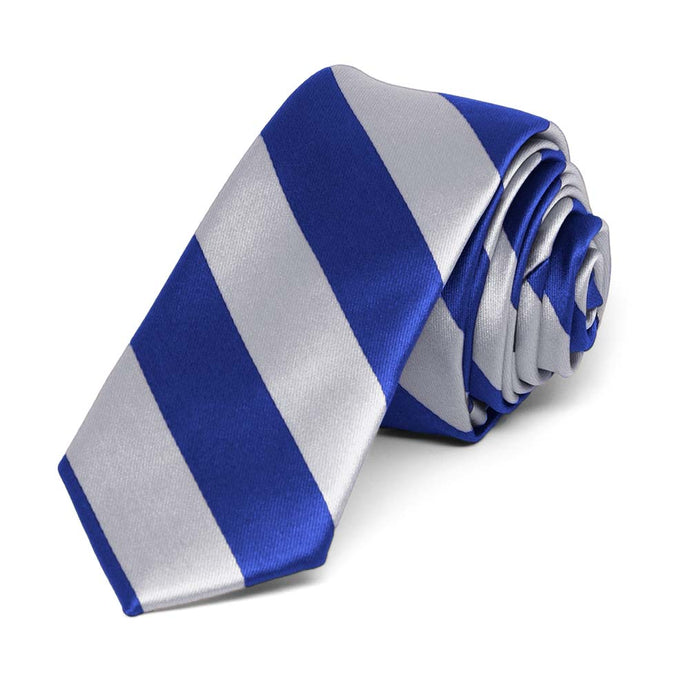 Royal Blue and Silver Striped Skinny Tie, 2