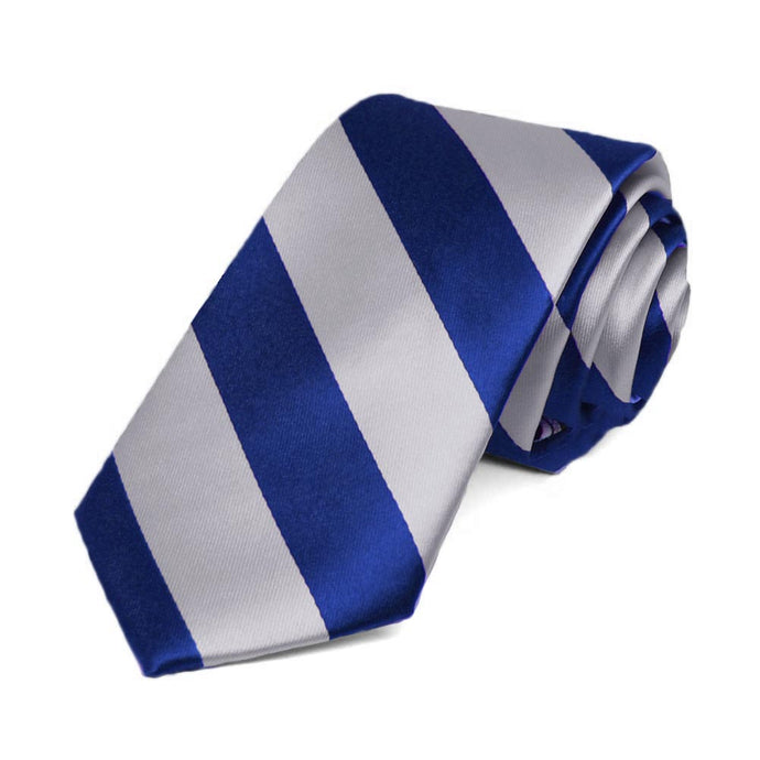 Royal Blue and Silver Striped Slim Tie, 2.5