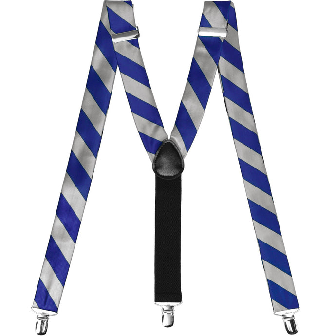 Royal Blue and Silver Striped Suspenders
