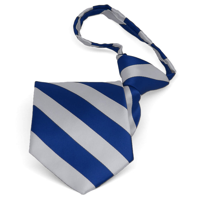 Pre-tied royal blue and silver striped zipper tie