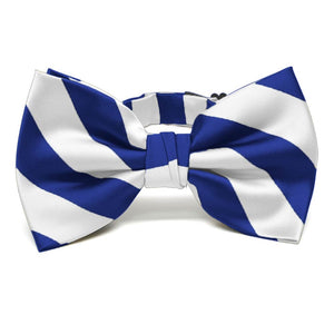 Royal Blue and White Striped Bow Tie