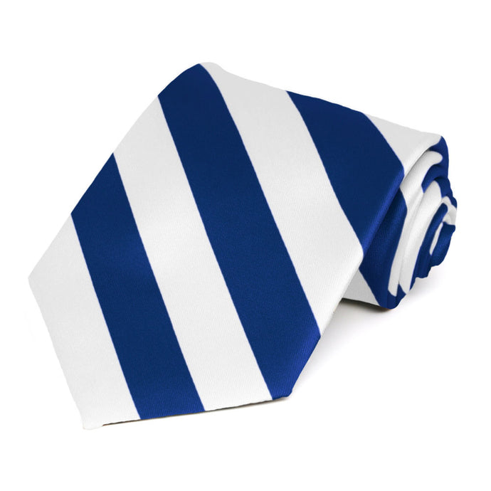 Royal Blue and White Extra Long Striped Tie
