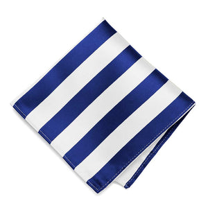 Royal Blue and White Striped Pocket Square