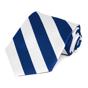 Royal Blue and White Striped Tie