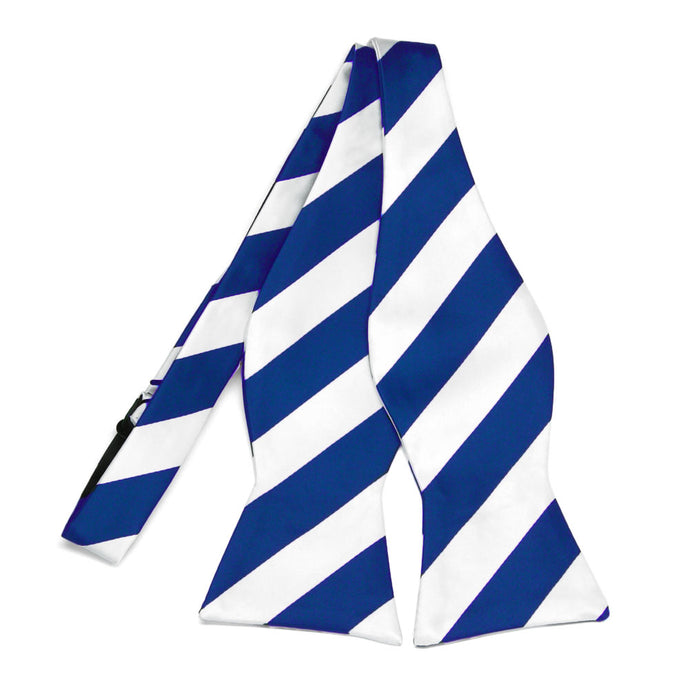 Royal Blue and White Striped Self-Tie Bow Tie