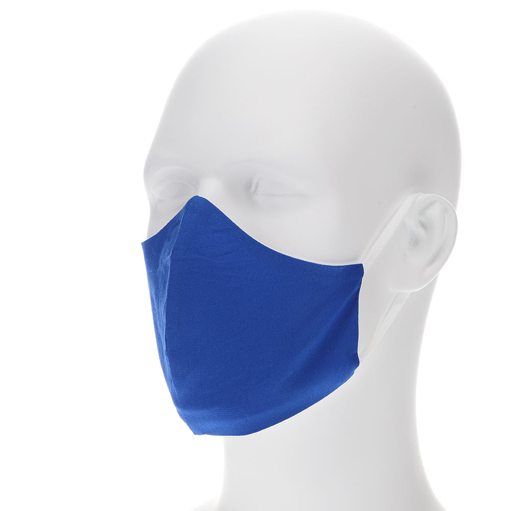 royal blue face mask on a mannequin with filter pocket
