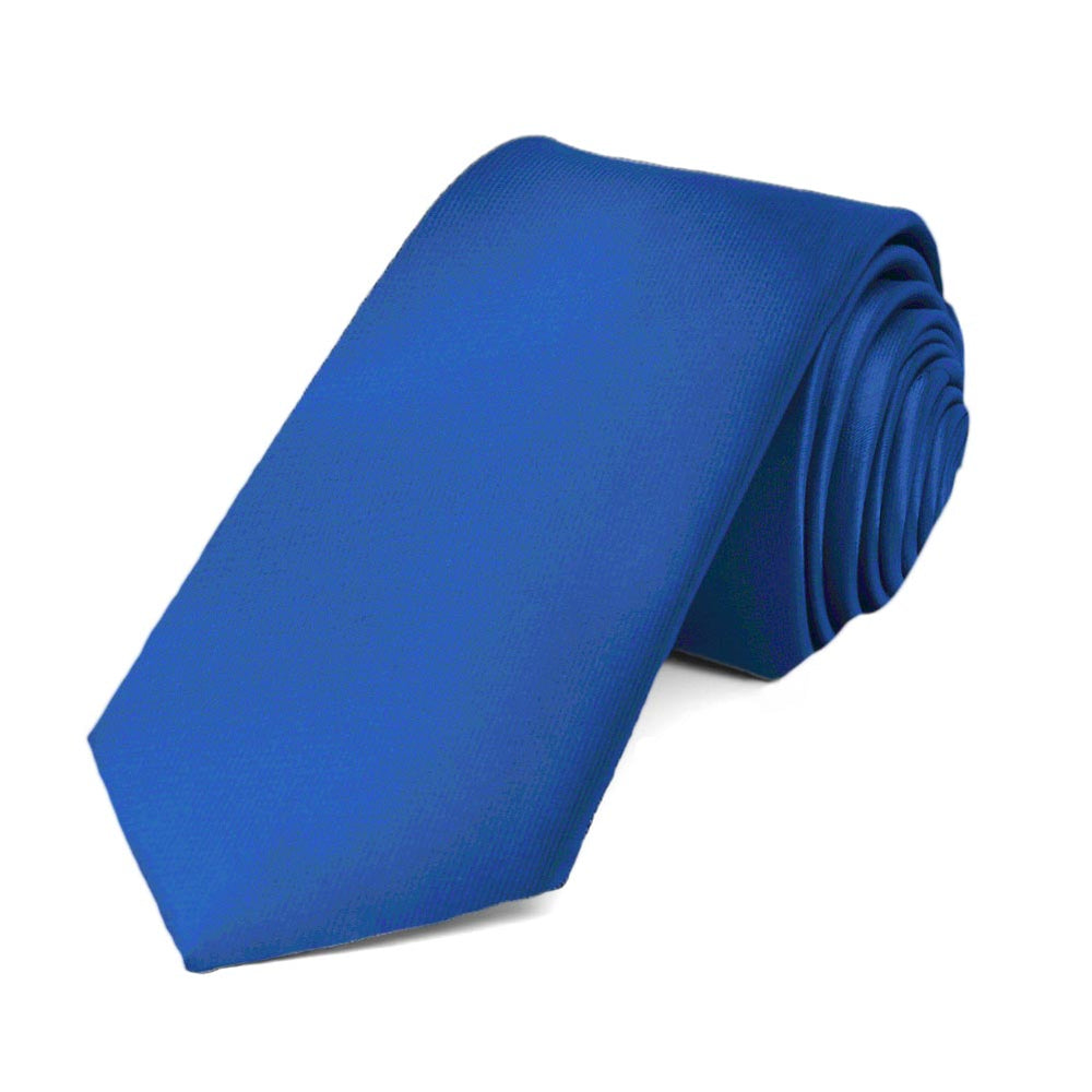 Royal Blue Slim Solid Color Necktie, 2.5