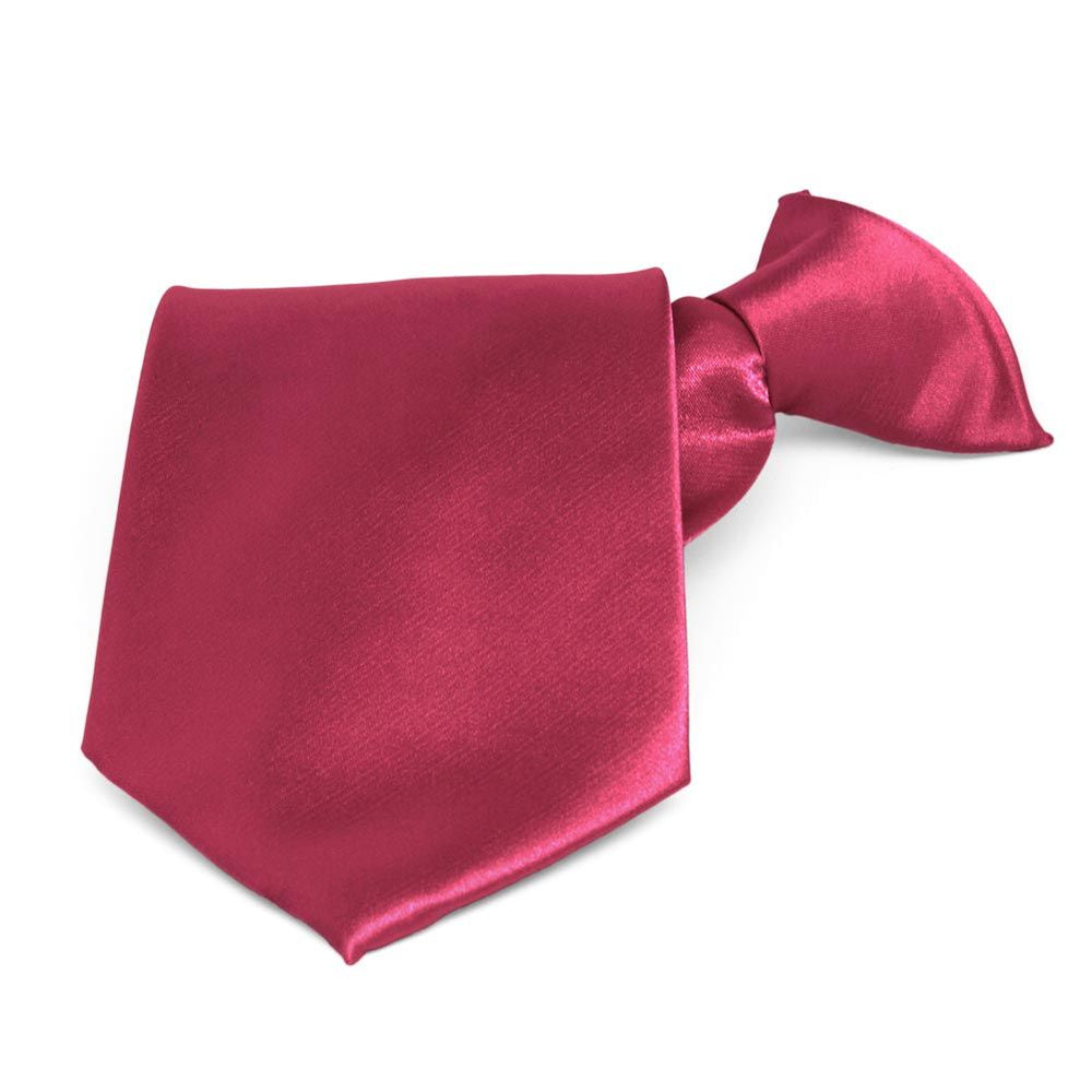Ruby Red Solid Color Clip-On Tie