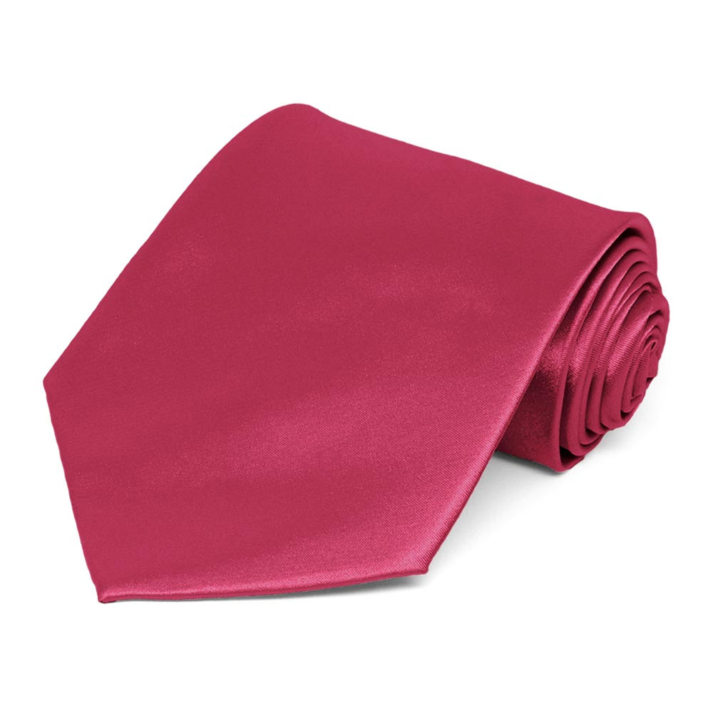 Ruby Red Extra Long Solid Color Necktie