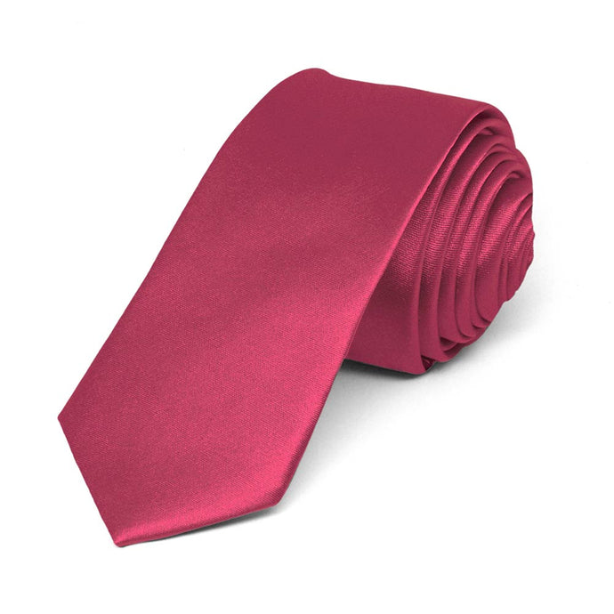Ruby Red Skinny Solid Color Necktie, 2