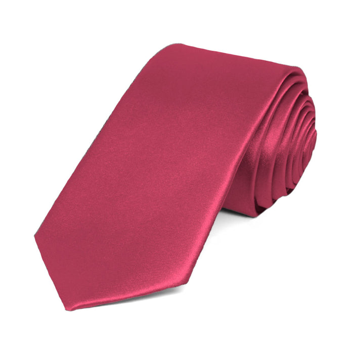 Ruby Red Slim Solid Color Necktie, 2.5