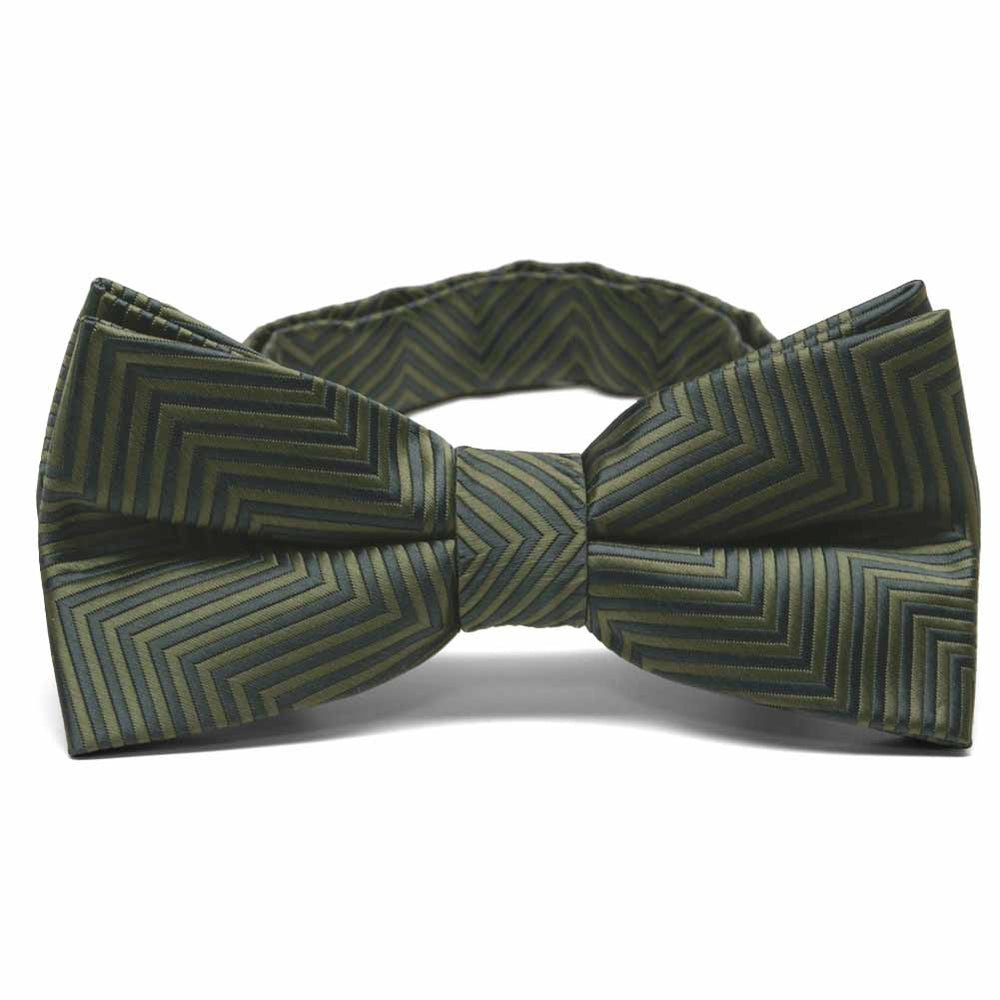 Dried Sage Kimberly Chevron Stripe Band Collar Bow Tie