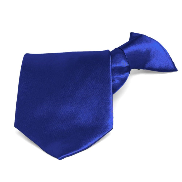Sapphire Blue Solid Color Clip-On Tie