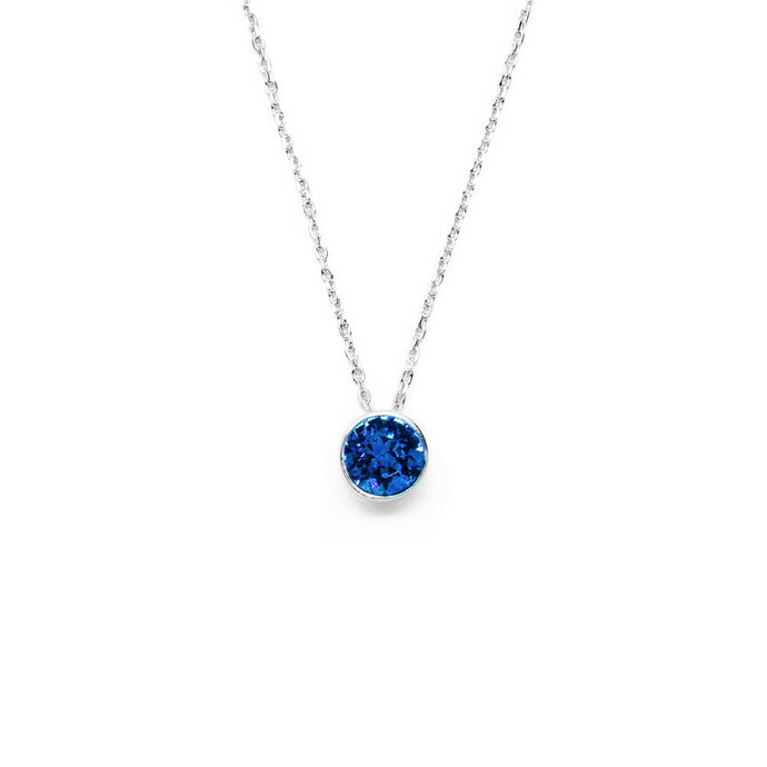 Sapphire Blue Round Crystal Necklace