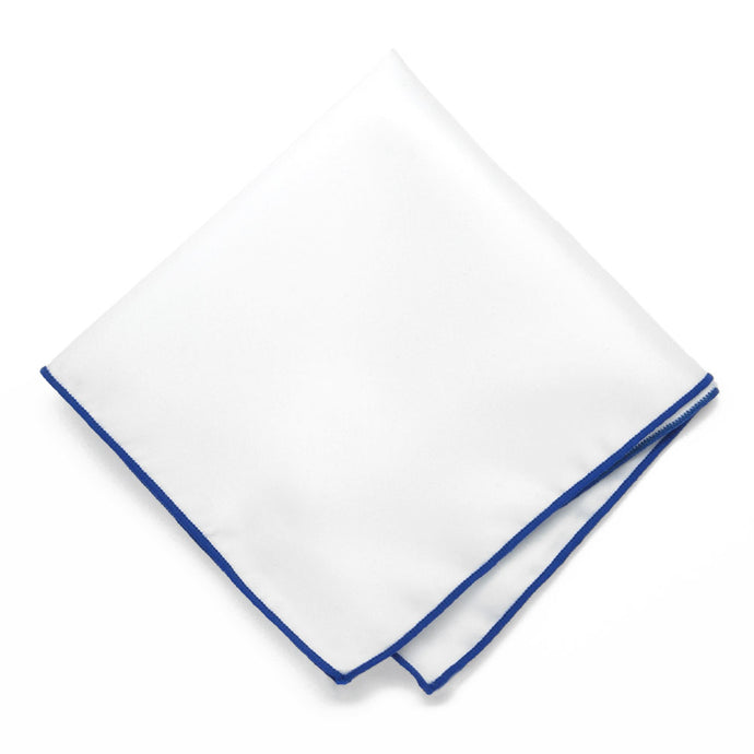 Sapphire Blue Tipped White Pocket Square