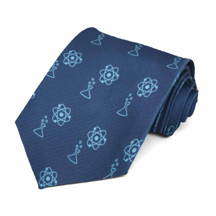 A light blue beaker and atom icon on a dark blue tie.