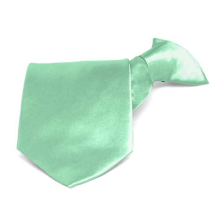 Seafoam Solid Color Clip-On Tie