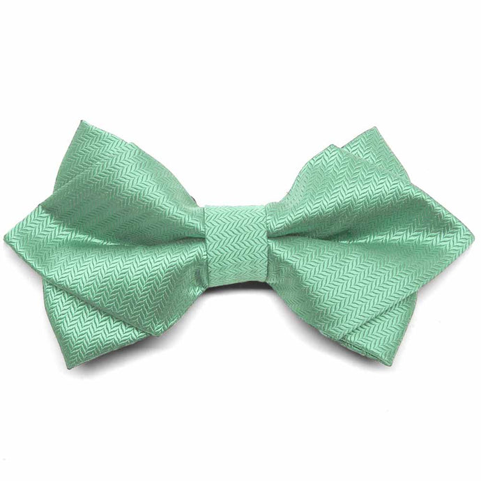 Seafoam Herringbone Diamond Tip Bow Tie
